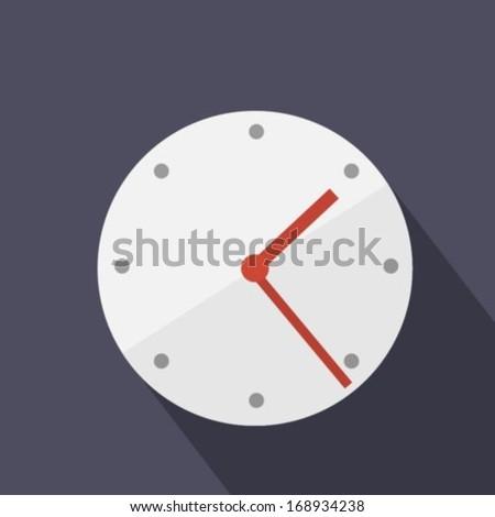 Flat clock icon - stock vector