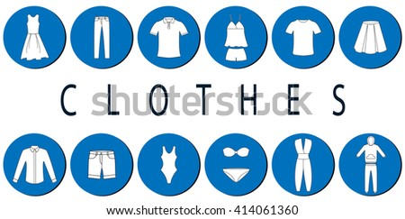 Flat clothes icons. Vector illustration