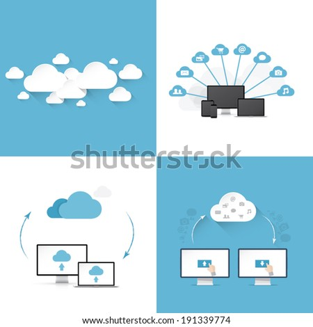 Flat cloud computing vector illustration templates set of four different styles - stock vector