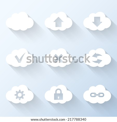 Flat cloud icons. Vector illustration - stock vector