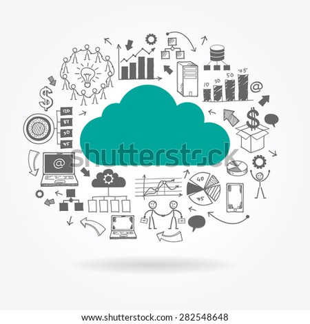 Flat cloud surrounded doodle business icons. File is saved in AI10 EPS version. This illustration contains a transparency  - stock vector