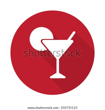 Flat Cocktail icon with long shadow on red circle