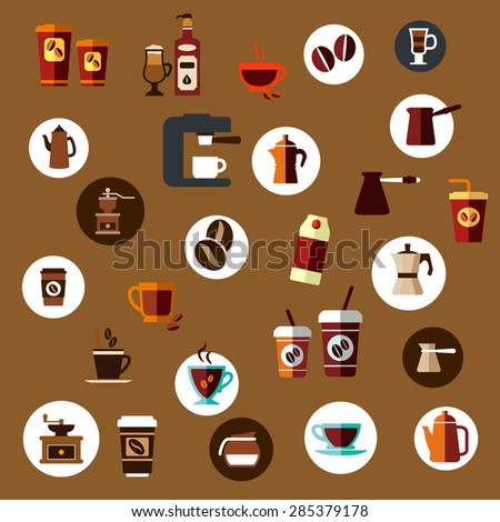 Flat coffee icons of takeaway cups, beans, coffee pots, coffee grinder, cappuccino, espresso, percolator and coffee machine - stock vector