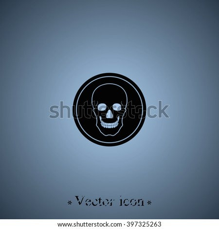 Flat Coin Skull Symbol Pirates Danger Stock Vector 397325263