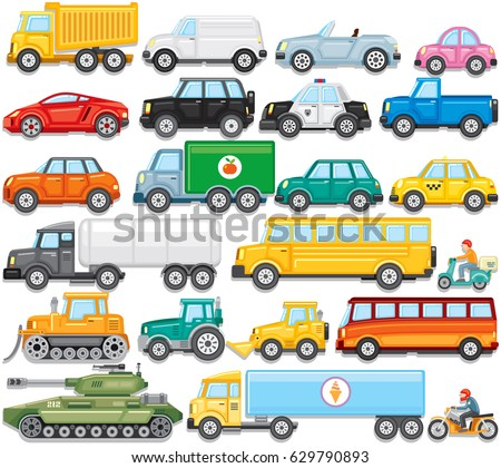 Flat Color Cartoon Automobiles. Vector Set of Sedan Car, Bus, Tractor, Freight Lorry, Jeeps, Hatchback, Pick up, Minivan, Bike, Ambulance, Cistern, Tank, Taxi, Tractor, School Bus, Bike and Motorbike