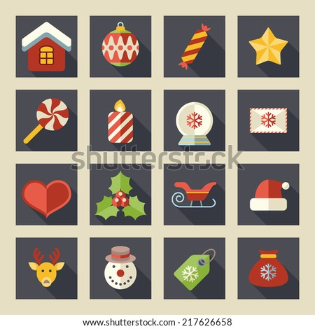 Flat color christmas icons for web and applications - stock vector
