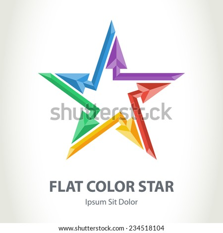 Flat color 3d star logo with arrows. Colorful Star-shaped vector logotype template. - stock vector