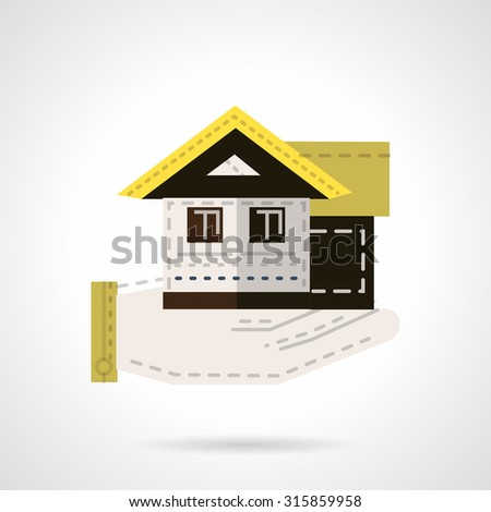 Flat color design vector icon for sale of houses. Hand holds house. Rental and sale of residential property. Web design element for business. - stock vector