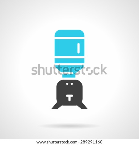 Flat color design vector icon for table cooler with a bottle on white background. - stock vector