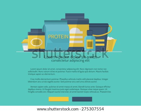 Flat color design vector illustration of sports nutrition program for website on blue background with sample text. - stock vector