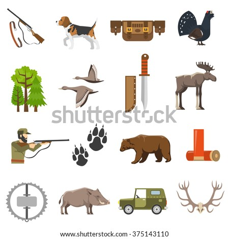 Flat color hunting icons set of wild animals and birds hunter with rifle jeep and bandolier isolated vector illustration   - stock vector