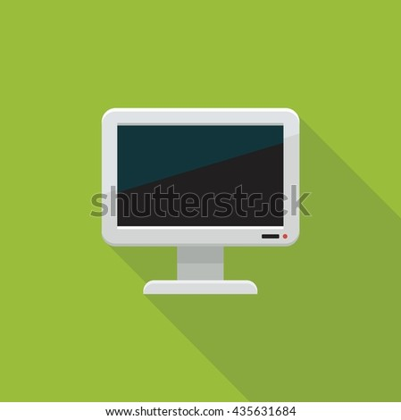 Flat color icon of a TV or monitor. - stock vector