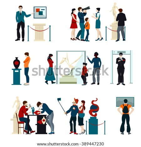Flat color icons set of people visiting exhibition in museum and gallery isolated vector illustration - stock vector