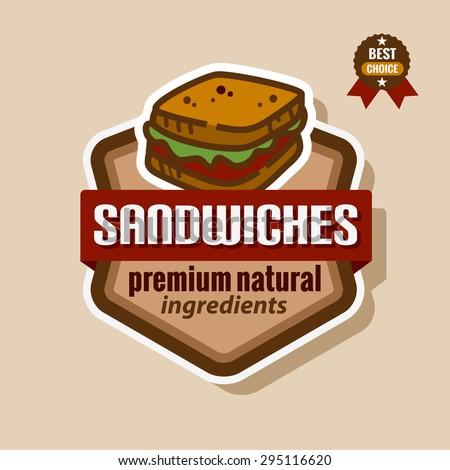 Flat color sandwich icon. Sandwich menu label. - stock vector