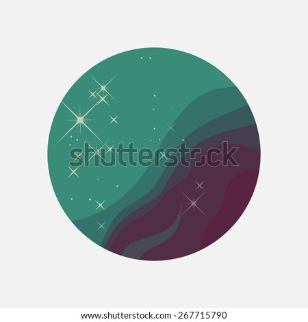Flat color space round  icon with Nebula and Constellation.  - stock vector