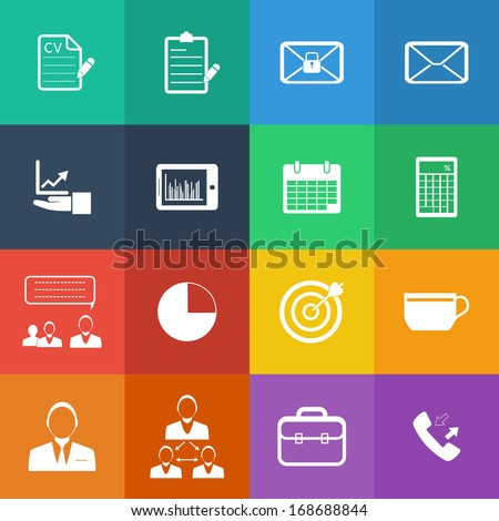 Flat Color style Business and office icons vector set. - stock vector