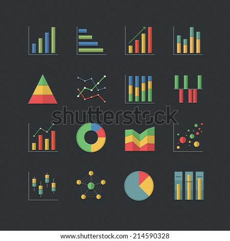 Flat color style Chart and Graph icons set  - stock vector
