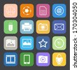 Flat Color style mobile phone icons vector set. - stock vector