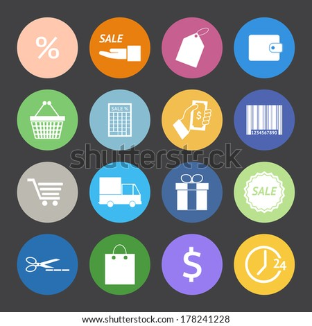 Flat Color style Shopping icons vector set. - stock vector