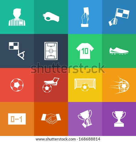 Flat Color style Soccer football icons vector set. - stock vector