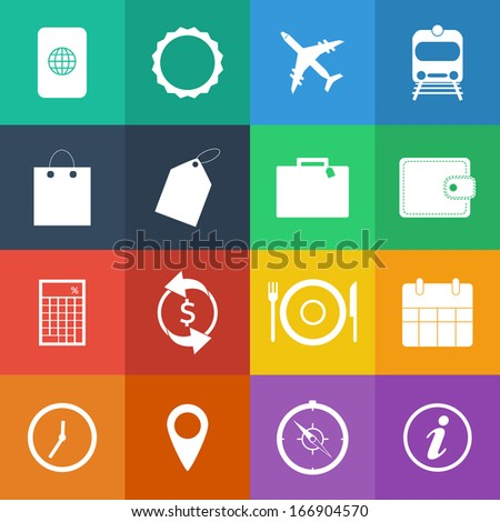 Flat Color style Travel Icons vector set. - stock vector
