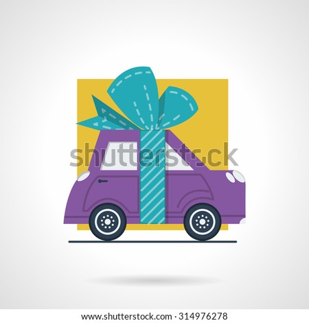 Flat color style vector icon for advertising action for cars. Purple automobile with ribbon bow for sale, rent or insurance proposition. Design elements for business and website - stock vector