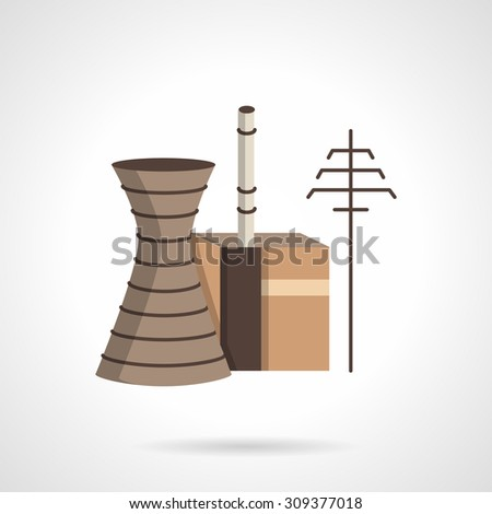 Flat color style vector icon for power plant. Sample for industrial building, plants and factories. Design element for business, logo and website. - stock vector