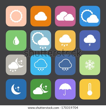 Flat Color style weather icon vector set. - stock vector
