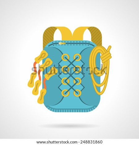Flat color vector icon for blue hike bag with yellow straps on gray background.  - stock vector