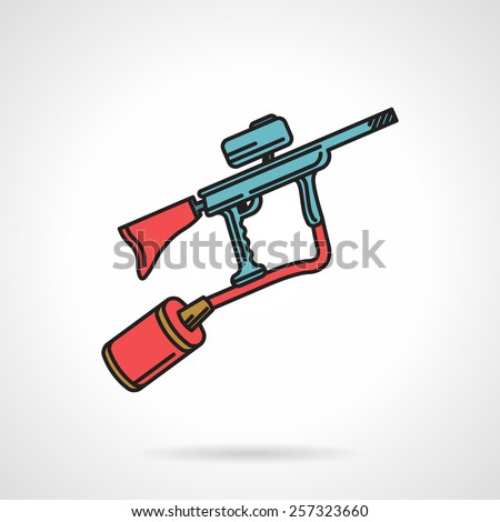 Flat color vector icon with black contour for blue paintball marker with red elements on white background. - stock vector