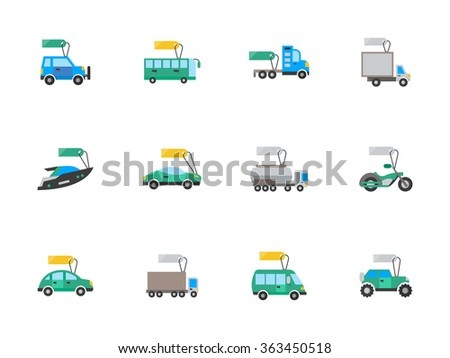 Flat color vehicles with price tags. Set of vector icons for car sale, auto business. Elements of web design for business, website and mobile. - stock vector