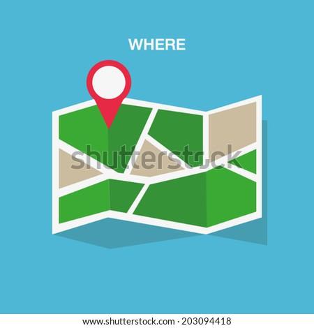 Flat colored location icon - stock vector