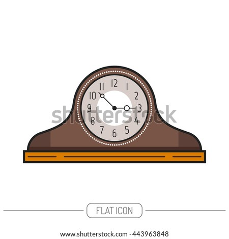 flat colored mantel clock isolated on white background vector - Mantel Clock