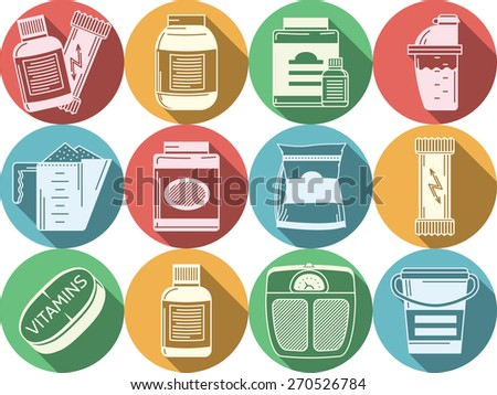 Flat colored vector icons for sports nutrition. Set of round colored flat vector icons with white silhouette elements of sports nutrition on white background. Long shadow design. - stock vector