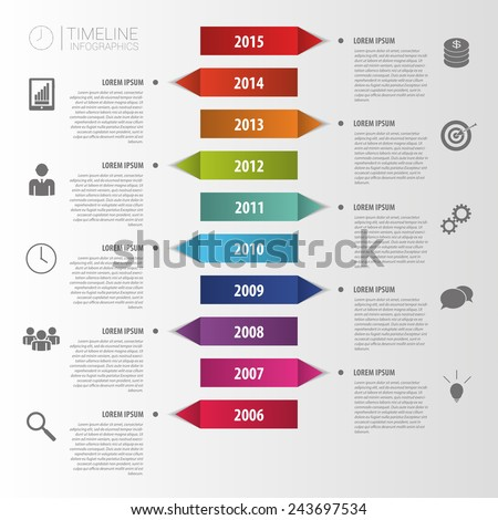 Flat colorful abstract timeline infographics vector - stock vector