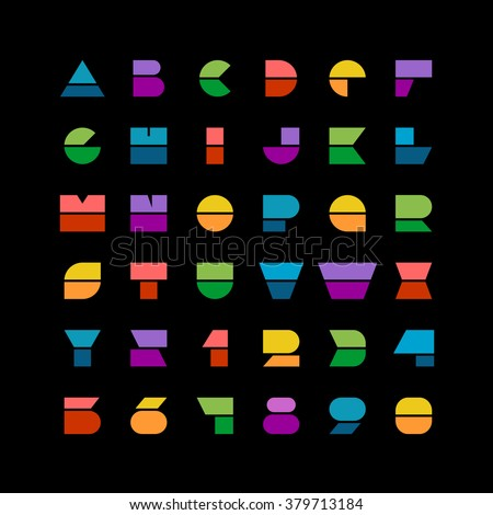 Flat colorful geometric shapes letters style font with numbers on a black background - stock vector