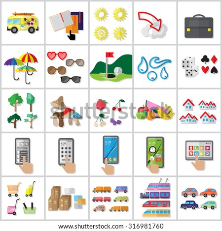 Flat Colorful Icons Set: Vector Illustration, Graphic Design. Collection Of Colorful Icons. For Web, Websites, Print, Presentation Templates, Mobile Applications And Promotional Materials  - stock vector
