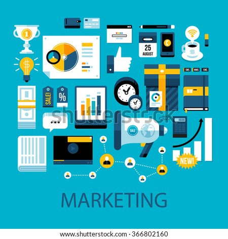 Flat colorful illustration about marketing and advertisement. Big set of icons and graphic elements. - stock vector