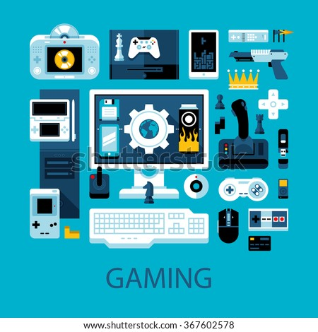 Flat colorful illustration about videogames, gamers and electronic entertainment. Big set of icons and graphic elements. - stock vector