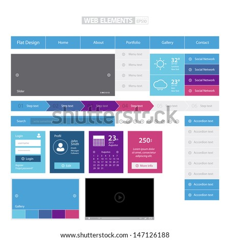Flat Colorful Web Elements / EPS10 Vector Illustration / can be use for web design, web elements, infographics, banners, advertising, applications / - stock vector