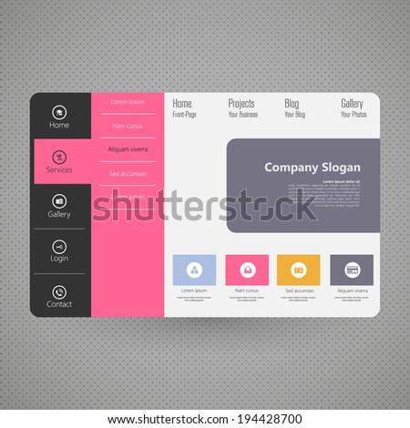 Flat Colorful Website Template Design  - stock vector