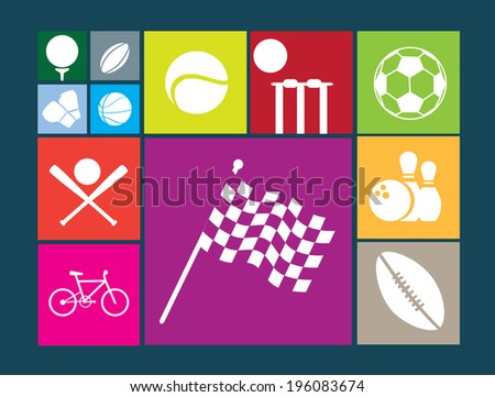 flat colour button sports ball series on coloured square background - stock vector