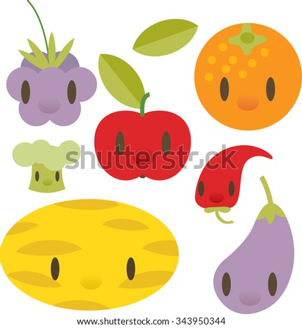 flat comic cartoon vegetable and fruits pictogram: gooseberry, orange, apple, chili pepper, melon, eggplant, broccoli - stock vector