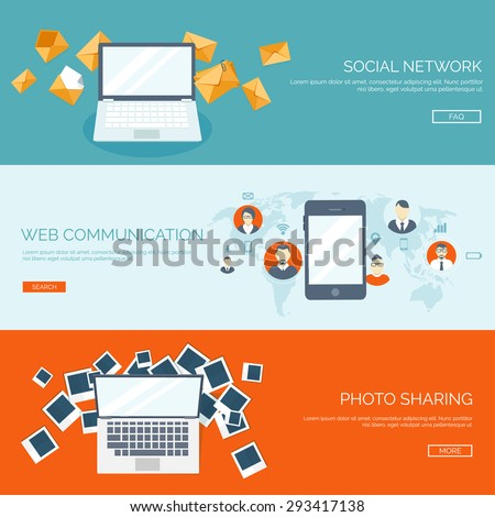 Flat communication background. Chatting and social media. Emailing. - stock vector