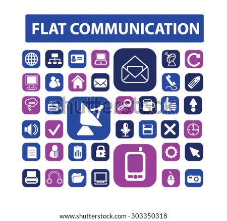 flat communication, connection icons, signs, illustrations set, vector - stock vector