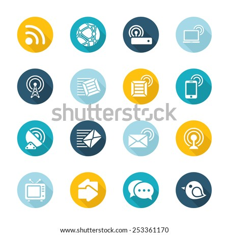 Flat Communication Icons - stock vector