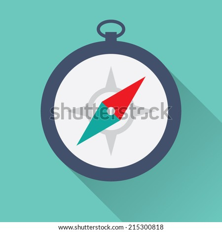 Flat Compass Icon - stock vector