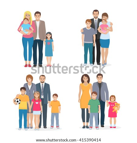 Flat composition 2x2 depicting big happy family with white background vector illustration - stock vector