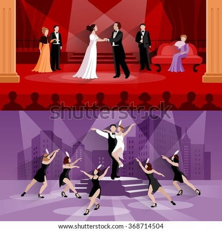 Flat compositions of 2 theater scenes presenting actors in performance and artists in musical vector illustration - stock vector