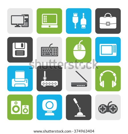 Flat Computer equipment and periphery icons - vector icon set - stock vector